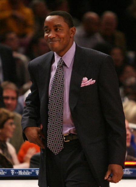 NEW YORK - NOVEMBER 26:  Coach of the New York Knicks Isiah Thomas smiles against the Utah Jazz on November 26, 2007 at Madison Square Garden in New York City. NOTE TO USER: User expressly acknowledges and agrees that, by downloading and/or using this Pho