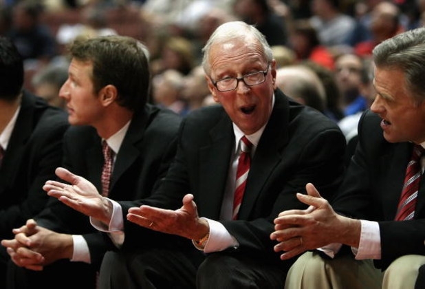 ANAHEIM, CA - DECEMBER 13:  Head coach Steve Fisher of the San Diego State Aztecs reacts during the John R. Wooden Classic game against the Saint Mary's Gaels at Honda Center on December 13, 2008 in Anaheim, California. The Gaels defeated the Aztecs 67-64