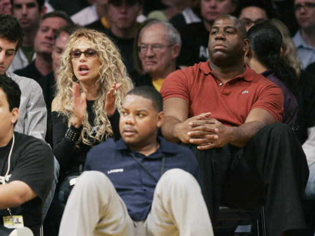 LOS ANGELES -APRIL 29:  Actress Dyan Cannon (L) and former Laker player Magic Johnson attend Game 4 of the Los Angles Lakers-Phoenix Suns NBA playoff game on Aprinl 29, 2007 at Staples Center in Los Angeles, California. (Photo by Vince Bucci/Getty Images)