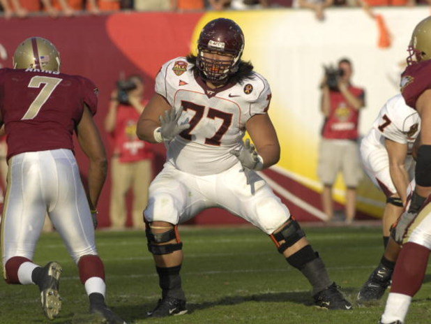 JACKSONVILLE, FL - DECEMBER 1: Tackle Ed Wang #77 of the Virginia Tech Hokies sets to block against the Boston College Eagles in the ACC Championship Game at Jacksonville Municipal Stadium on December 1, 2007 in Jacksonville, Florida.  The Hokies won the