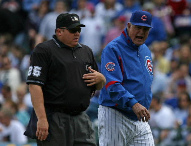 CHICAGO - MAY 02: Manager Lou Piniella #41 of the Chicago Cubs has words with home plate umpire Fieldin Culbreth during a game against the Florida Marlins on May 2, 2009 at Wrigley Field in Chicago, Illinois. The Cubs defeated the Marlins 6-1. (Photo by J