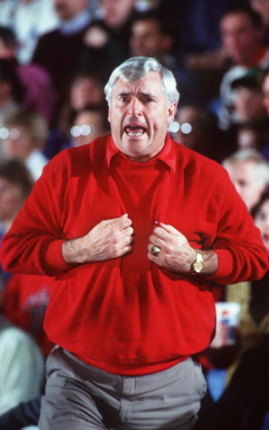 30 Jan 1993: BOBBY KNIGHT HEAD COACH OF INDIANA ON THE SIDELINES DURING THEIR GAME AT NORTHWESTERN.