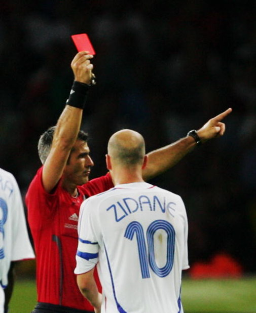 BERLIN - JULY 9:  Zinedine Zidane of France is shown a red card by Referee Horacio Elizondo of Argentina during the FIFA World Cup Germany 2006 Final match between Italy and France at the Olympic Stadium on July 9, 2006 in Berlin, Germany.  (Photo by Alex