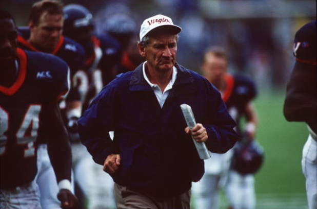 14 Oct 1995:  Head Coach George Welch of Virginia University runs along the side line during the Cavaliers 44-30 win over Duke University at Klockner Stadium in Virginia. Mandatory Credit: Doug Pensinger/ALLSPORT