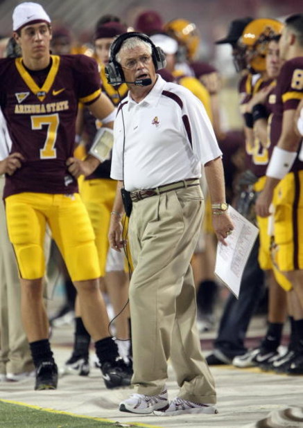 TEMPE, AZ - SEPTEMBER 15: Head coach Dennis Erickson of the Arizona State Sun Devils works on the sidelines during the game with the San Diego State Aztecs on September 15, 2007 at Sun Devil Stadium in Tempe, Arizona. Arizona State won 34-13. (Photo by St