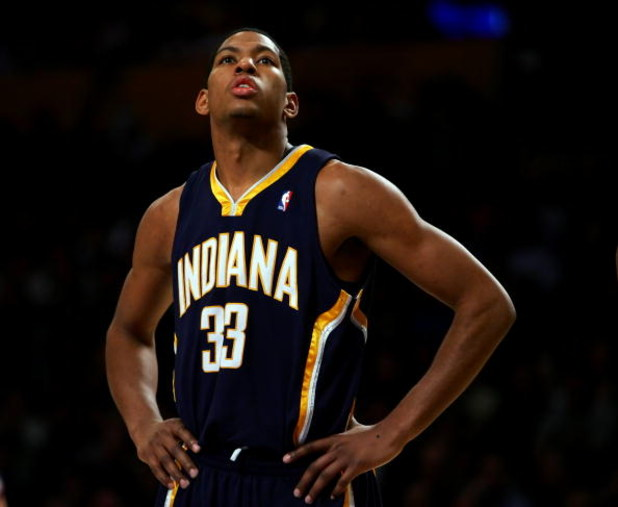LOS ANGELES - DECEMBER 4:  Danny Granger #33 of the Indiana Pacers looks on during free throw against the Los Angeles Lakers on December 4, 2006 at Staples Center in Los Angeles, California. NOTE TO USER: User expressly acknowledges and agrees that, by do