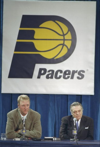 12 May 1997:  Coach Larry Bird and team president Donnie Walsh of the Indiana Pacers speak to reporters during a press conference in Indianapolis, Indiana. Mandatory Credit: Matthew Stockman  /Allsport