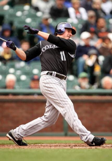SAN FRANCISCO - MAY 02:  Brad Hawpe #11 of the Colorado Rockies bats against the San Francisco Giants on May 2, 2009 at AT&T Park in San Francisco, California.  (Photo by Ezra Shaw/Getty Images)