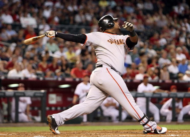 PHOENIX - JUNE 11:  Pablo Sandoval #48 of the San Francisco Giants at bat during the major league baseball game against the Arizona Diamondbacks at Chase Field on June 11, 2009 in Phoenix, Arizona. The Diamondbacks defeated the Giants 2-1.  (Photo by Chri