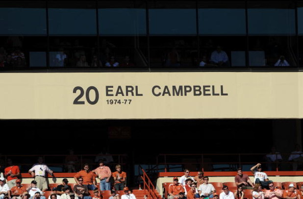 AUSTIN, TX - OCTOBER 25: The name and number of former player, Earl Campbell in the stands of the north endzone during play between the Oklahoma State Cowboys and the Texas Longhorns at Texas Memorial Stadium on October 25, 2008 in Austin, Texas.  (Photo