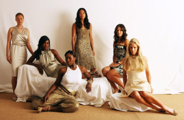 LONDON, ENGLAND - JUNE 18:  Tennis players (L-R) Vera Zvonareva, Venus Williams, Serena Williams, Anne Keothavong, Ana Ivanovic and Elena Dementieva pose during a studio session at The Ralph Lauren Sony Ericsson WTA Tour Pre-Wimbledon Party hosted by Rich