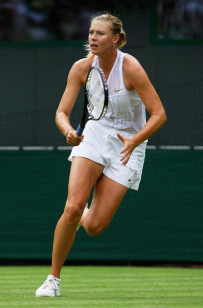 LONDON - JUNE 24:  Maria Sharapova of Russia plays a shot during the women's singles round one match against Stephanie Foretz of France on day two of the Wimbledon Lawn Tennis Championships at the All England Lawn Tennis and Croquet Club on June 24, 2008