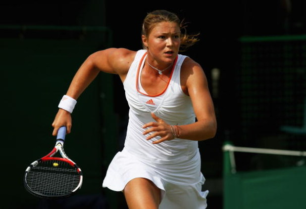LONDON - JUNE 26:  Dinara Safina of Russia in action during the round two women's singles match against Su-Wei Hsieh of Taiwan, Province of China on day four of the Wimbledon Lawn Tennis Championships at the All England Lawn Tennis and Croquet Club on Jun