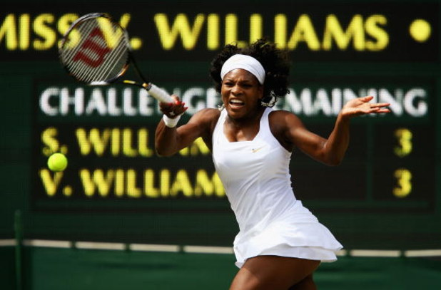 LONDON - JULY 05:  Serena Williams of United States plays a forehand during the women's singles Final match against Venus Williams of United States on day twelve of the Wimbledon Lawn Tennis Championships at the All England Lawn Tennis and Croquet Club on