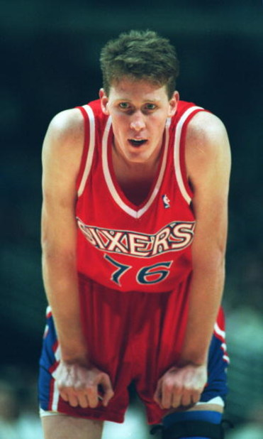 7 Nov 1994: SHAWN BRADLEY OF THE PHILADELPHIA 76ERS AT THE FREE THROW LINE DURING THE GAME AGAINST THE CHICAGO BULLS AT THE UNITED CENTER IN CHICAGO, ILLINOIS.