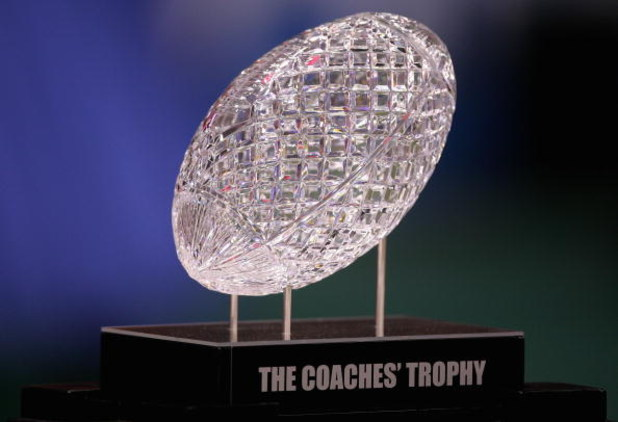 NEW ORLEANS - JANUARY 07:  The Coaches' Trophy is displayed before the Ohio State Buckeyes take on the Louisiana State University Tigers in the AllState BCS National Championship on January 7, 2008 at the Louisiana Superdome in New Orleans, Louisiana.  (P