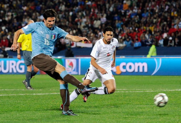 JOHANNESBURG, SOUTH AFRICA - JUNE 18:  Vincenzo Iaquinta #15 of Italy kicks the ball during the  FIFA Confederations Cup against Egypt at Ellis Park Stadium on June 18, 2009 in Johannesburg, South Africa.  Egypt defeated Italy, 1-0.  (Photo by Kevork Djan