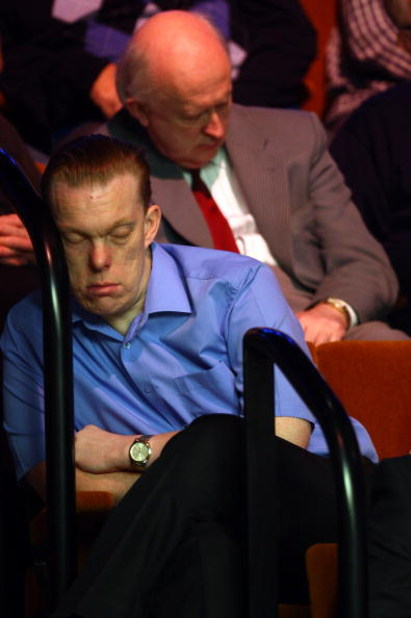SHEFFIELD, UNITED KINGDOM - MAY 01:  A fan falls a sleep during a Semi Final match at the Betfred Snooker World Championships, at the Crucible Theatre on May 1, 2009, in Sheffield, United Kingdom.  (Photo by Ian Walton/Getty Images)