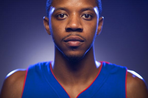 TARRYTOWN, NY - JULY 29:  Walter Sharpe of the Detroit Pistons poses for a portrait during the 2008 NBA Rookie Photo Shoot on July 29, 2008 at the MSG Training Facility in Tarrytown, New York.  NOTE TO USER: User expressly acknowledges and agrees that, by