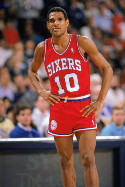 1989:  Maurice Cheeks #10 of the Philadelphia 76ers rests during the 1988-1989 NBA season game. (Photo by Otto Greule Jr/Getty Images)