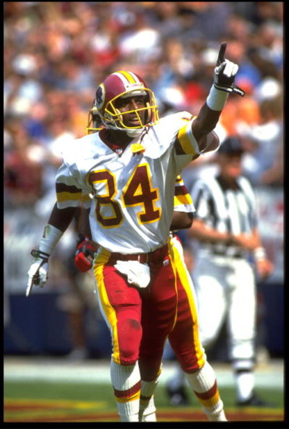 13 SEP 1992:  WASHINGTON REDSKINS WIDE RECEIVER GARY CLARK POINTS TO THE CROWD IN CELEBRATION DURING A 24-17 VICTORY OVER THE ATLANTA FALCONS AT RFK STADIUM IN WASHINGTON D.C.