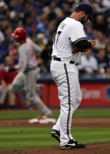 MILWAUKEE - OCTOBER 05:  Jeff Suppan #37 of the Milwaukee Brewers walks back to the mound after surrendering a home run to Jayson Werth #28 of the Philadelphia Phillies in game four of the NLDS during the 2008 MLB playoffs at Miller Park on October 5, 200