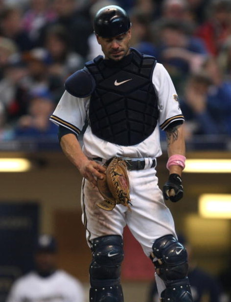 MILWAUKEE - MAY 10: Jason Kendall #18 of the Milwaukee Brewers reacts after making an error in the 3rd inning against the Chicago Cubs on May 10, 2009 at Miller Park in Milwaukee, Wisconsin. The Cubs defeated the Brewers 4-2. (Photo by Jonathan Daniel/Get