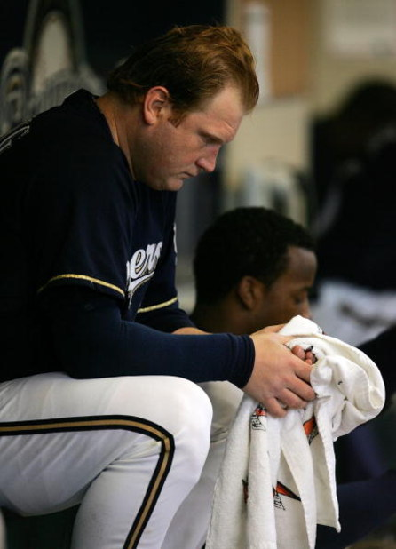 MILWAUKEE - MAY 29: Starting pitcher Seth McClung #73 of the Milwaukee Brewers sits on the bench after being removed from a game against the Atlanta Braves on May 29, 2008 at Miller Park in Milwaukee, Wisconsin. The Braves defeated the Brewers 8-1.  (Phot