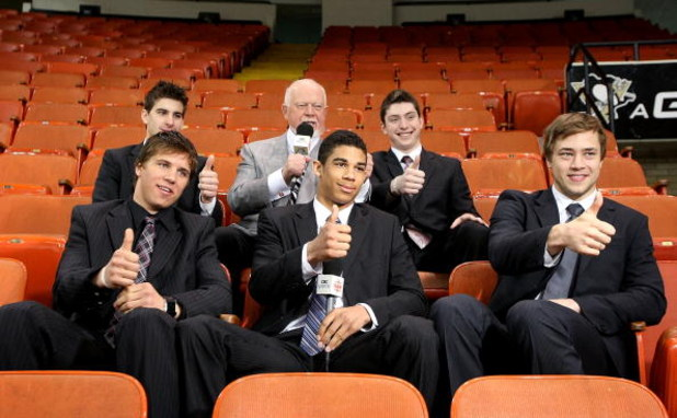 PITTSBURGH - JUNE 02:  Announcer Don Cherry (center) talks with NHL top prospects (L-R) Brayden Schenn, John Tavares, Evander Kane, Matt Duchene and Victor Hedman during the Pittsburgh Penguins and Detroit Red Wings Team Practices before Game 3 of the 200