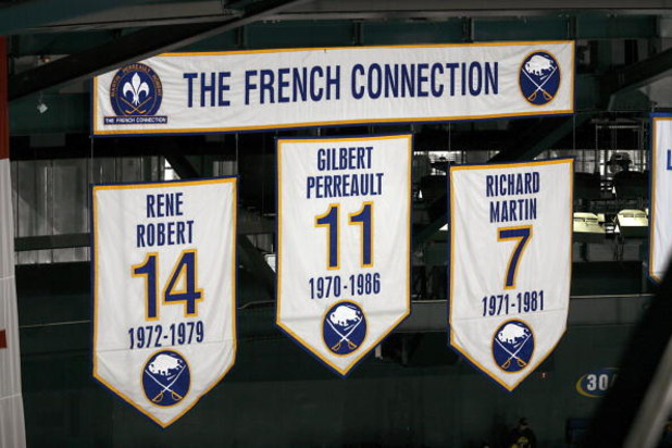 BUFFALO, NY - FEBRUARY 13:  A view of the banners of Rene Robert #14, Gilbert Perreault #11 and Richard Martin that hang in the rafters during the NHL game of the Buffalo Sabres against the Toronto Maple Leafs on February 13, 2008 at HSBC Arena in Buffalo