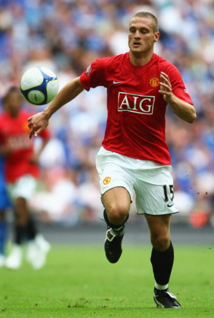 LONDON - AUGUST 10:  Nemanja Vidic of Manchester United in action during the FA Community Shield match between Manchester United and Portsmouth at Wembley Stadium on August 10, 2008 in London, England.  (Photo by Jamie McDonald/Getty Images)