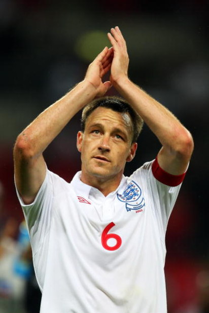 LONDON, ENGLAND - JUNE 10:  John Terry of England celebrates after victory in  the FIFA 2010 World Cup Group 6 Qualifying match between England and Andorra at Wembley Stadium on June 10, 2009 in London, England.  (Photo by Mark Thompson/Getty Images)