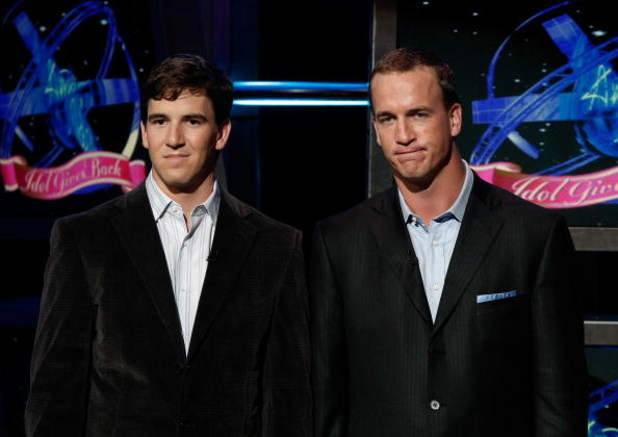 HOLLYWOOD - APRIL 06:  Football stars Eli (L) and Peyton Manning speak onstage during the taping of Idol Gives Back held at the Kodak Theatre on April 6, 2008 in Hollywood, California.  Idol Gives Back will air April 9, 2008 (7:30-10:00 PM ET/PT) on FOX.