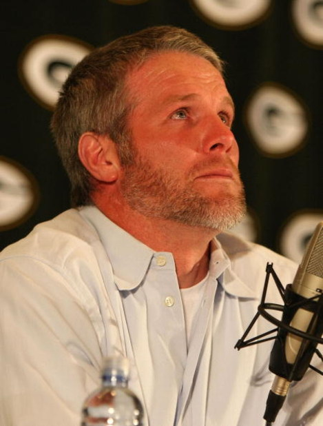 GREEN BAY, WI - MARCH 06: Quarterback Brett Favre of the Green Bay Packers tries to control his emotions at his retirement press conference on March 6, 2008 at Lambeau Field in Green Bay, Wisconsin. (Photo by Jonathan Daniel/Getty Images)