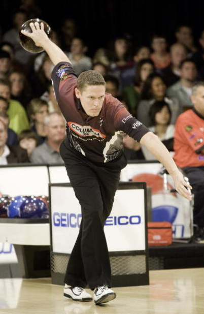 WICHITA, KS - OCTOBER 26:  Chris Barnes eyes the pins during the finals of the PBA World Championships held at the Northrock Lanes on October 26, 2008 in Wichita, Kansas. (Photo by Craig Hacker/Getty Images for PBA)