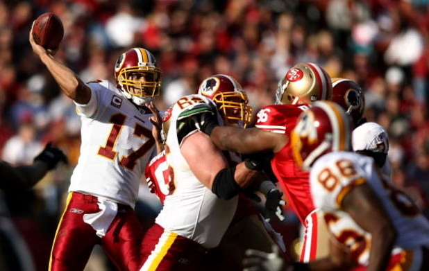 SAN FRANCISCO - DECEMBER 28:  Quarterback Jason Campbell #17 of the Washington Redskins throws a pass against the San Francisco 49ers at Candlestick Park on December 28, 2008 in San Francisco, California  (Photo by Jonathan Ferrey/Getty Images)