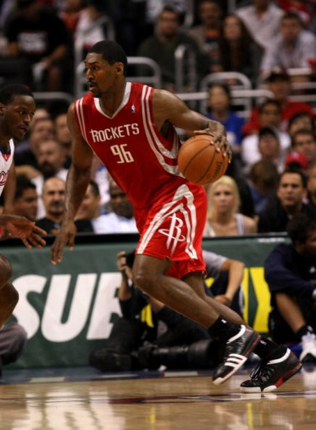 LOS ANGELES - NOVEMBER 7: Ron Artest #96 of the Houston Rockets drives against the Los Angeles Clippers on November 7, 2008 at Staples Center in Los Angeles, California.  The Rockets won 92-83.  NOTE TO USER: User expressly acknowledges and agrees that, b