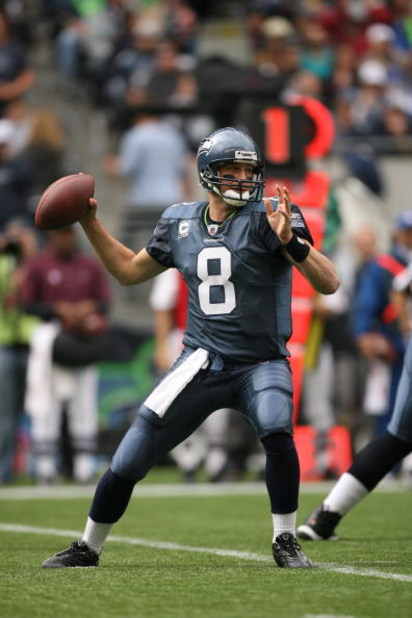 SEATTLE - SEPTEMBER 21:  Matt Hasselbeck #8 of the Seattle Seahawks passes during the game against the St. Louis Rams on September 21, 2008 at Qwest Field in Seattle, Washington. (Photo by Otto Greule Jr/Getty Images)