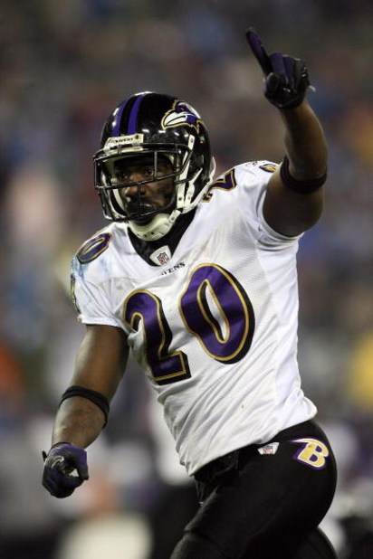 NASHVILLE, TN - JANUARY 10:  Safety Ed Reed #20 of the Baltimore Ravens reacts after the Ravens stopped the Tennessee Titans on fourth down to win the game during the AFC Divisional Playoff Game on January 10, 2009 at LP Field in Nashville, Tennessee.  (P