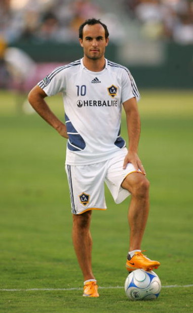 CARSON, CA - JULY 04:  Landon Donovan #10 of the Los Angeles Galaxy looks on during warm-up prior to their MLS match against the New England Revolution at the Home Depot Center on July 4, 2008 in Carson, California. The Revolution defeated the Galaxy 2-1.