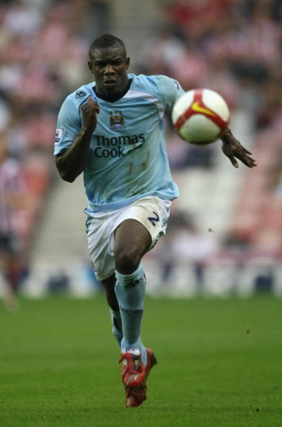 SUNDERLAND, UNITED KINGDOM - AUGUST 31: Micah Richards of Manchester City in action during the Barclays Premier League match between Sunderland and Manchester City at the Stadium of Light on August 31, 2008 in Sunderland, England.  (Photo by Gary M. Prior