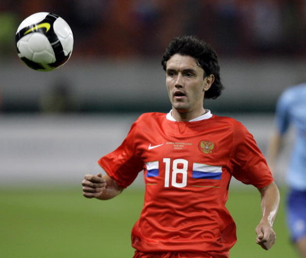 MOSCOW, RUSSIA - AUGUST 20:  Yuri Zhirkov of Russia is shown in action during a friendly international soccer match against Netherlands at the Lokomotiv Stadium on August 20, 2008 in Moscow, Russia.  (Photo by Dima Korotayev)