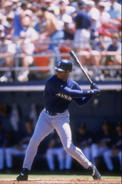 25 Jun 1998:  Ken Griffey Jr. #24 of the Seattle Mariners in action during an interleague game against the San Diego Padres at Qualcomm Stadium in San Diego, California.  The Padres defeated the Mariners 2-0. Mandatory Credit: Todd Warshaw  /Allsport