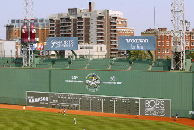 BOSTON - JULY 1: A general view of the 'Green Monster' at Fenway Park on July 1, 2004 in Boston, Massachusetts.  (Photo by Elsa/Getty Images)
