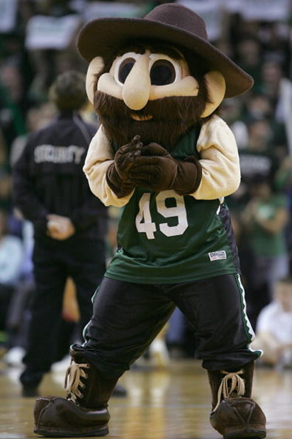 CHARLOTTE - NOVEMBER 29:  The mascot of the UNC Charlotte 49ers rallies the fans during the college basketball game against the Wake Forest Demon Deacons at the Bobcats Arena on November 29, 2007 in Charlotte, North Carolina. (Photo by Streeter Lecka/Gett