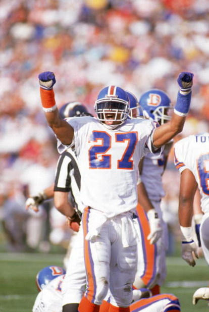 SAN DIEGO - DECEMBER 24:  Full safety Steve Atwater #27 of the Denver Broncos celebrates during a game against the San Diego Chargers at Jack Murphy Stadium on December 24, 1989 in San Diego, California.  The Chargers won 19-16.  (Photo by George Rose/Get