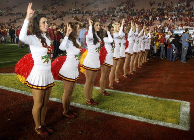 PASADENA, CA - JANUARY 01:  The USC Trojans song girls sing the fight song after the Trojans defeated the Penn State Nittany Lions during the 95th Rose Bowl Game presented by Citi on January 1, 2009 at the Rose Bowl in Pasadena, California.  (Photo by Ste