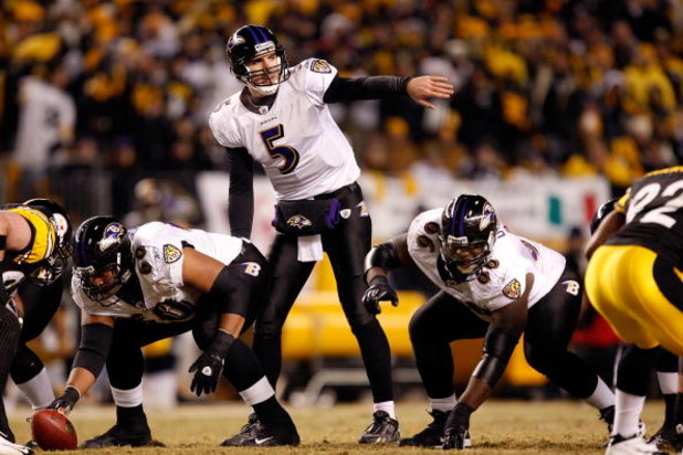 PITTSBURGH - JANUARY 18:  Joe Flacco #5 of the Baltimore Ravens calls out signals at the line of scrimmmage against the Pittsburgh Steelers during the AFC Championship game on January 18, 2009 at Heinz Field in Pittsburgh, Pennsylvania.  (Photo by Streete