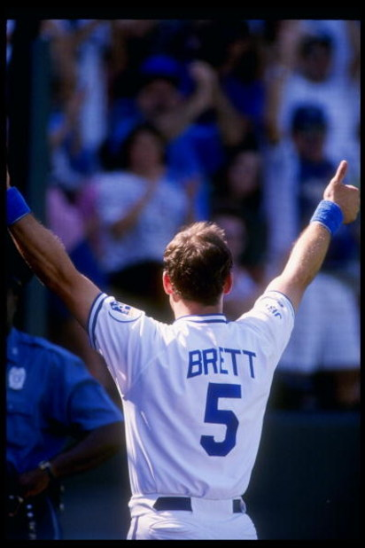 4 Oct 1992:  Infielder George Brett of the Kansas City Royals in action during a game against the Minnesota Twins at Royal Stadium in Kansas  City, Missouri.  Mandatory Credit: Earl Richardson  /Allsport