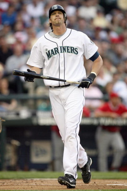 SEATTLE - MAY 15:  Richie Sexson #44 of the Seattle Mariners reacts after striking out during the game against the Los Angeles Angels of Anahiem on May 15, 2007 at Safeco Field in Seattle, Washington. (Photo by Otto Greule Jr/Getty Images)